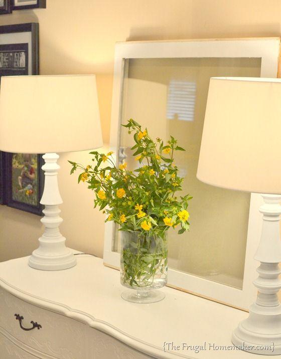 Spray painted brass lamps. For floor lamp? Go dark brown ...