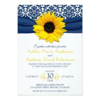 yellow sunflower navy blue damask ribbon wedding card  yellow, invitation samples