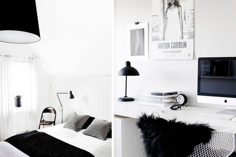 Decoración en blanco y negro en el hogar