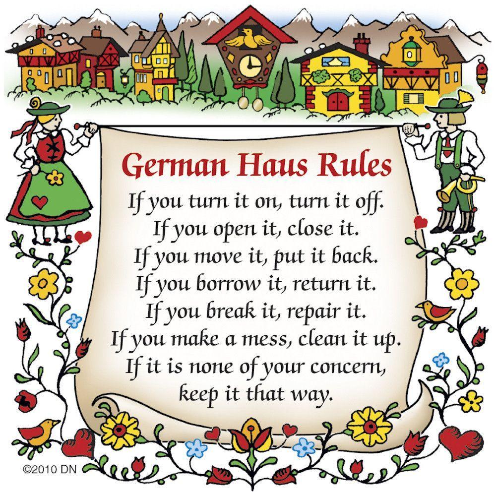 German Refrigerator Magnet Tile (German House Rules