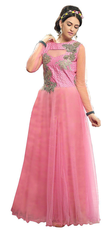 Women Indian Traditional Dress Ethnic Party Wear Long Net Gown ...