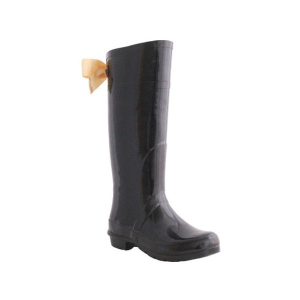 Women's Nomad Splish Rain Boot ($60) ❤ liked on Polyvore featuring shoes,  boots, black, casual, waterproof boots, bow rain boots, rubber rain boots,  ...