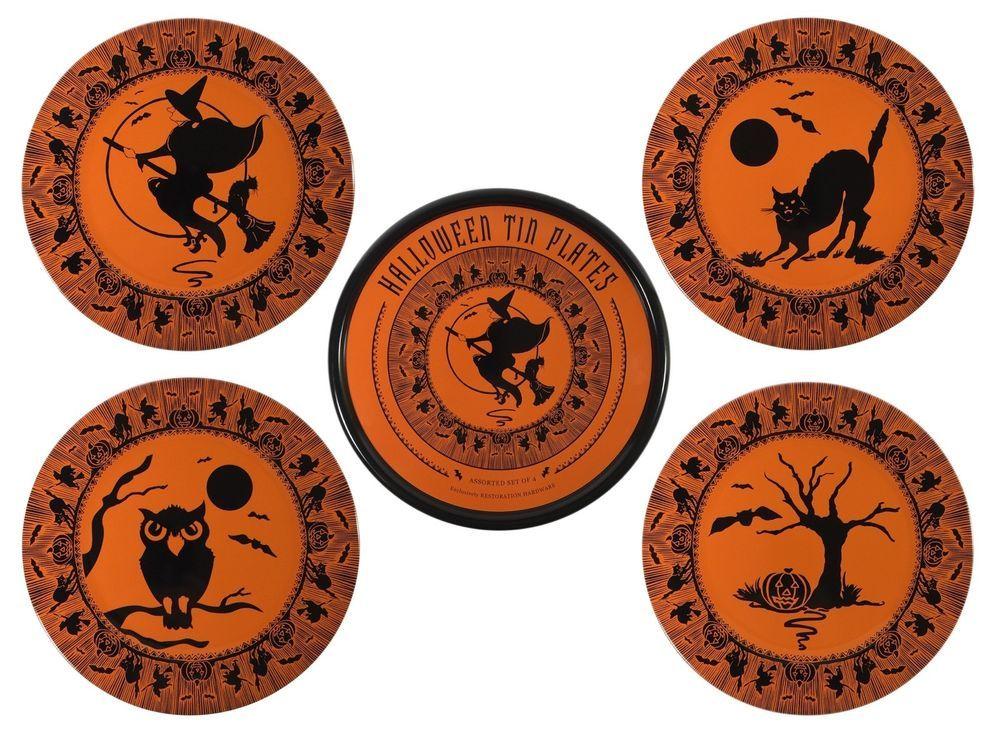 restoration hardware vintage design tin halloween plates witch black cat owl new - Restoration Hardware Halloween