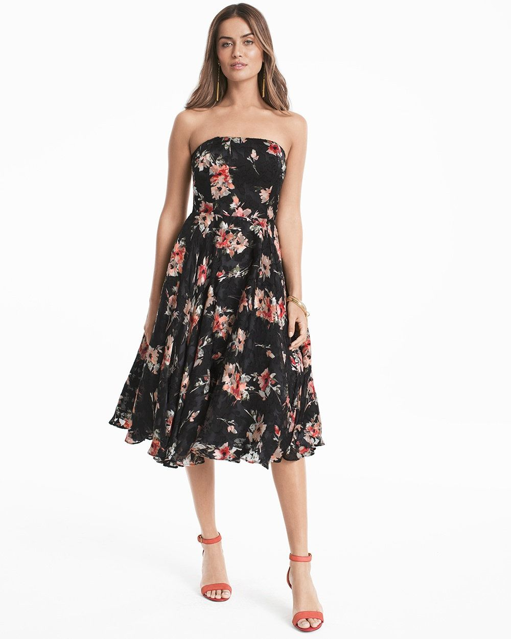 96acc0a430ce Strapless Floral Printed Midi Fit-and-Flare Dress