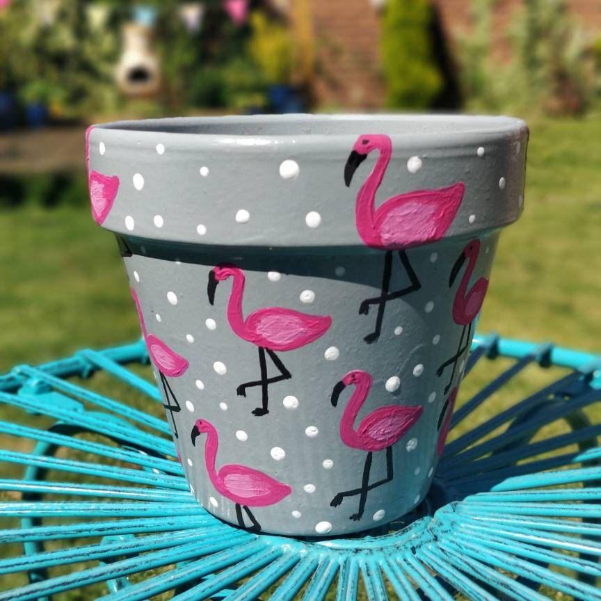 Hand Painted Polka Dot Flamingo Plant Pot Dekorierte Blumentopfe Blumentopfe Bemalen Und Blumentopfe Streichen