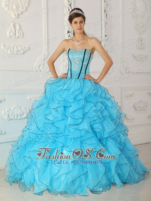 7b89022ad4d Buy baby blue strapless organza quinceanera dress with appliques and  ruffles from turquoise quinceanera dresses collection