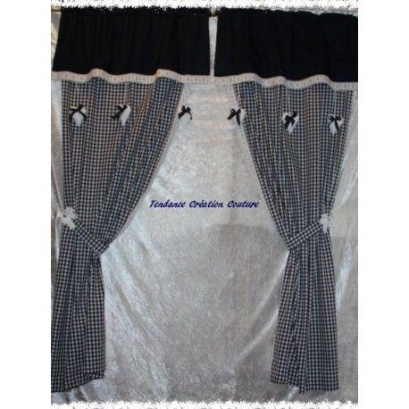Paire De Rideaux Bonne Femme Vichy Bleu Marine Dimensions Largeur
