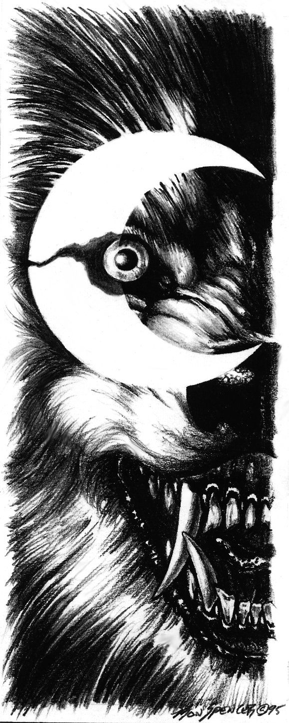 Werewolf in the crescent eye of a full moon.