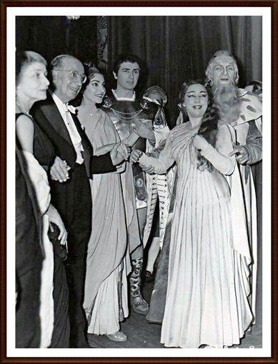 Maria Callas -1958 2 gennaio Roma Teatro dell'Opera   Norma - da sinistra: Margherita Wallmann (Regia) Gabriele Santini (Direttore) Maria  Franco Corelli (Pollione) Miriam Pirazzini (Adalgisa) Giulio Neri (Oroveso)