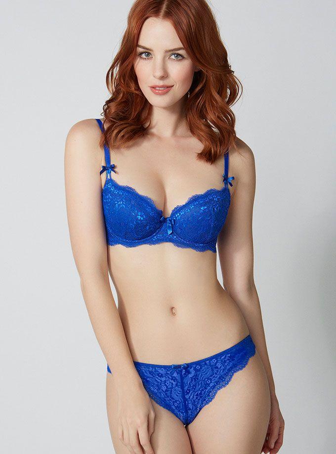 Redhead blue thong