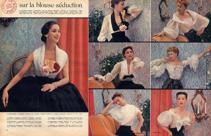Givenchy, Jacques Fath, Schiaparelli 1952  Blouses by Chevalier | Hprints.com