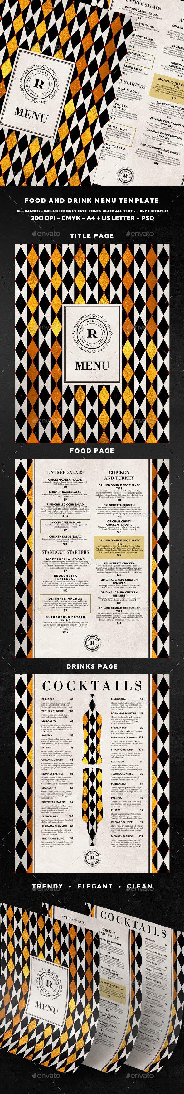 Food Menu #bar #cafe #clean #dinner #drink #elegant #fastfood #flyer #food #foodmenu #loft #menu #menudesign #modern #printtemplate #restaurant #template