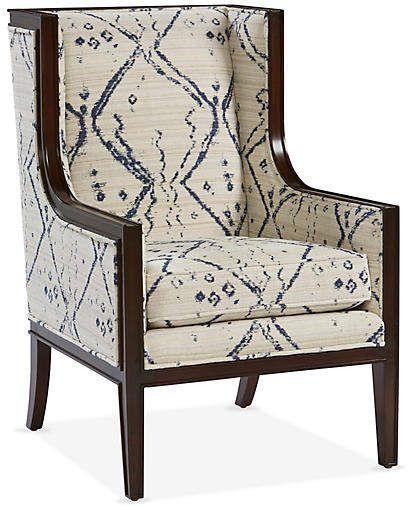 Springfield Wingback Chair Ivory Indigo Miles Talbott Pub Chairs Ergonomic Kneeling