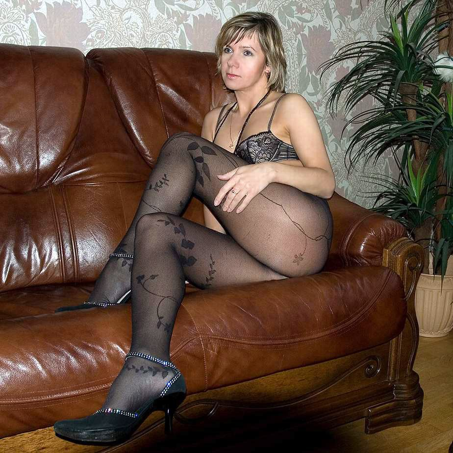In Black Pantyhose Mature Gal