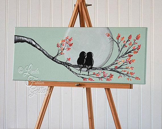 Original canvas painting love bird painting mint and coral - Leinwandbilder malen ...