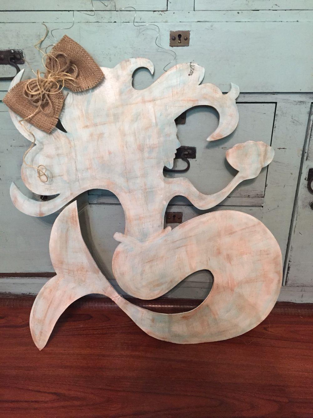 Mermaid Door Hanger Distressed Door Hanger Annie