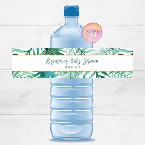 Custom Water Bottle Labels Tropical Baby Shower Water
