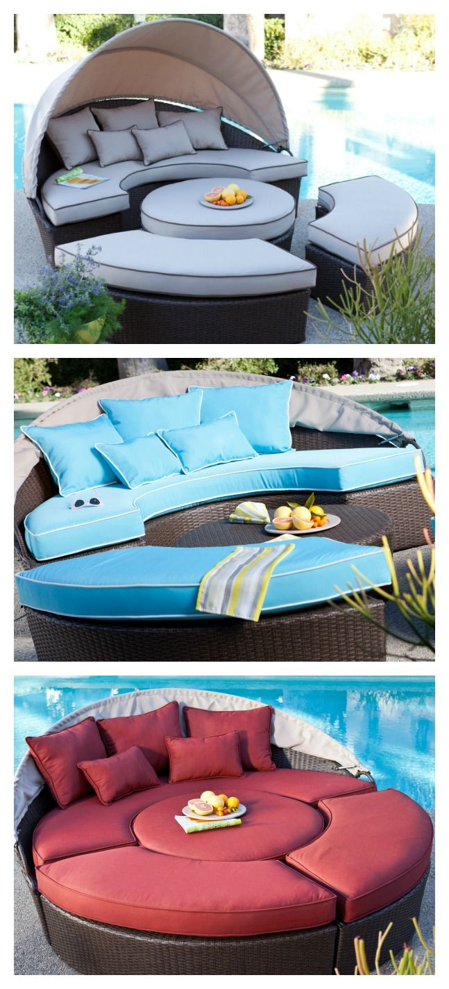 Not only does theBelham Living Rendezvous All-Weather Wicker Sectional Daybedmake your outdoor seating area look exactly like a page out of a home decor magazine, it also offers versatile seating options designed to fit all your entertaining needs. Between its upscale contemporary look and functional perfection, this set, which includes a loveseat with canopy, two curved benches, and an ottoman/coffee table, is sure to be the highlight of your patio, poolside, or sunroom.