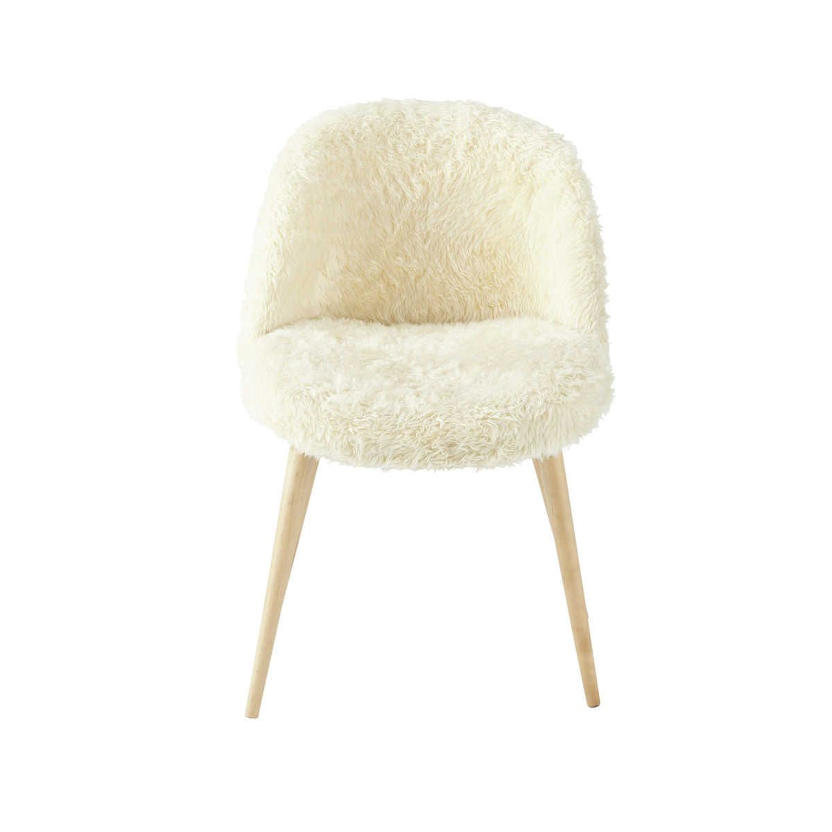Ivory Faux Fur And Birch Vintage Chair Maisons Du Monde Childrens Room Decor Vintage Chairs White Metal Chairs