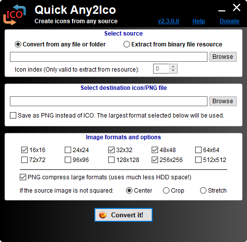 Quick Any2ico 2 3 0 0 Quick Any2ico Is A Free Portable Application That Creates High Quality Icon Files From Any File Folder Or Resource Create Icon Icon Ico
