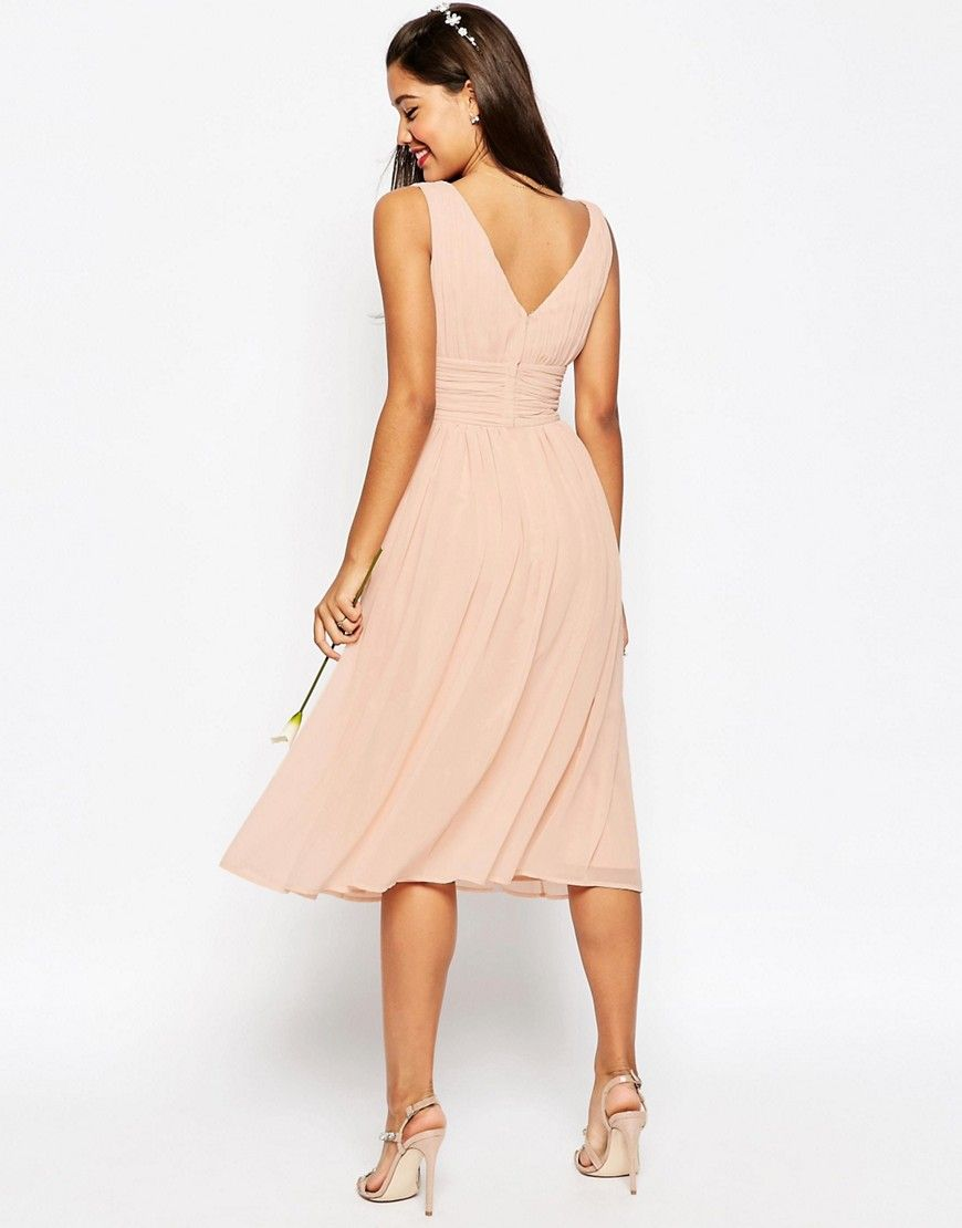 2019 Asos In PinkSomeday Panel Dress Midi Wedding Ruched eWQoErdCxB
