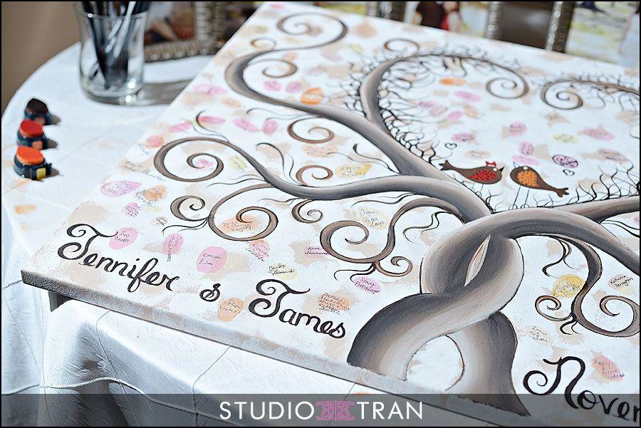 Thumbprint guest book- Etsy Cottage Creek Arts, Studio Tran Photography, New Orleans, NOLA, fall wedding, red orange wedding