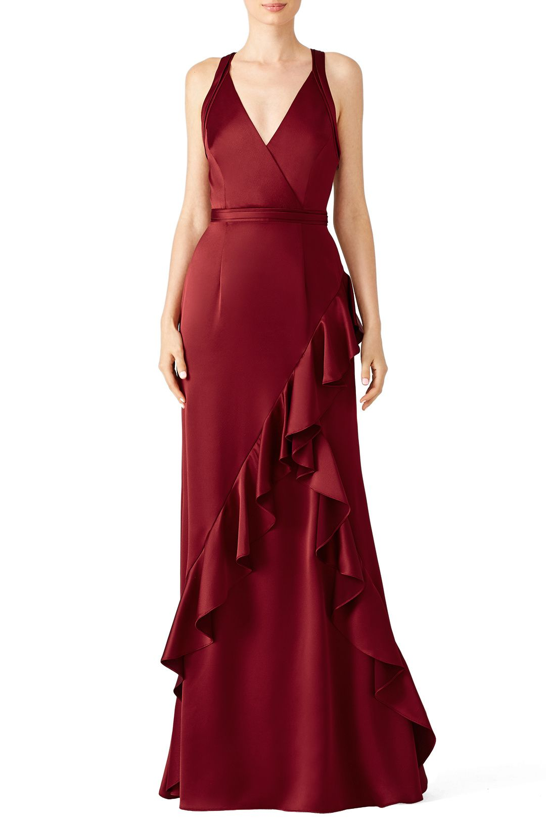 Rent Wine Ruffle Gown By Aidan Mattox For 36 75 95 Only At Rent The Runway Dresses Gowns Evening Dresses