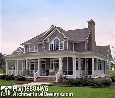 Plan 16804wg Country Farmhouse With Wrap Around Porch Porch House Plans House Styles Farmhouse Plans