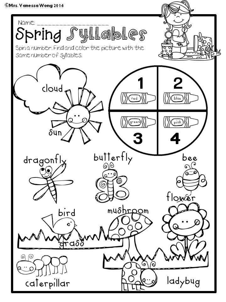 Spring Math and Literacy No Prep Printables Kindergarten | Coloring ...