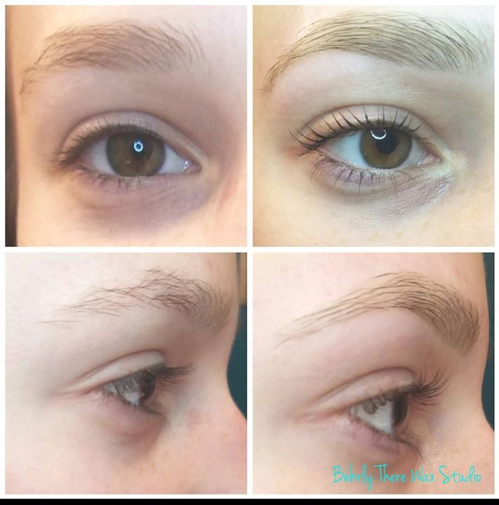 before and after lash lift lash tint eyebrow wax and