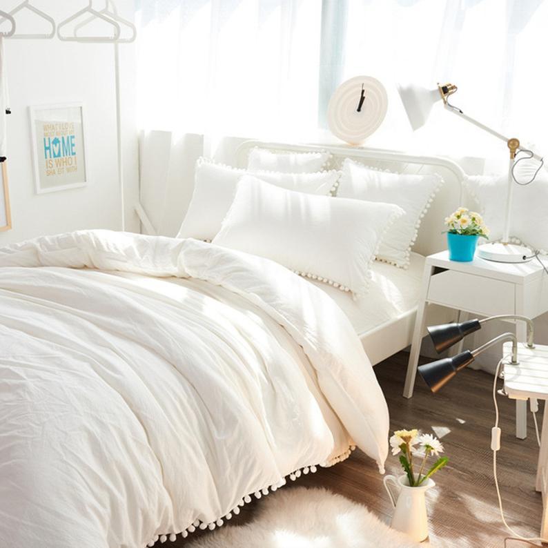Off White Doona Duvet Cover Pom Pom Lace Cotton Throw Etsy White Comforter Bedroom White Bed Comforters White Duvet