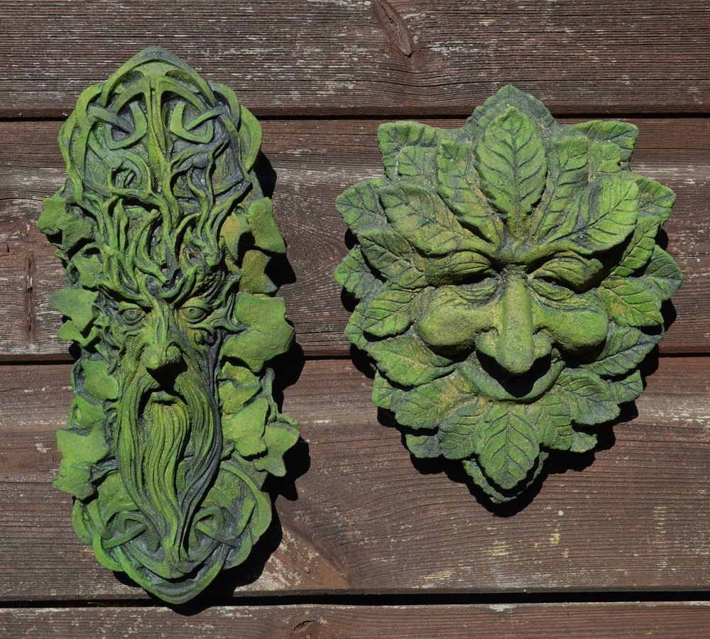 Celtic green man plaque wise green man plaque stone wall plaques set ...