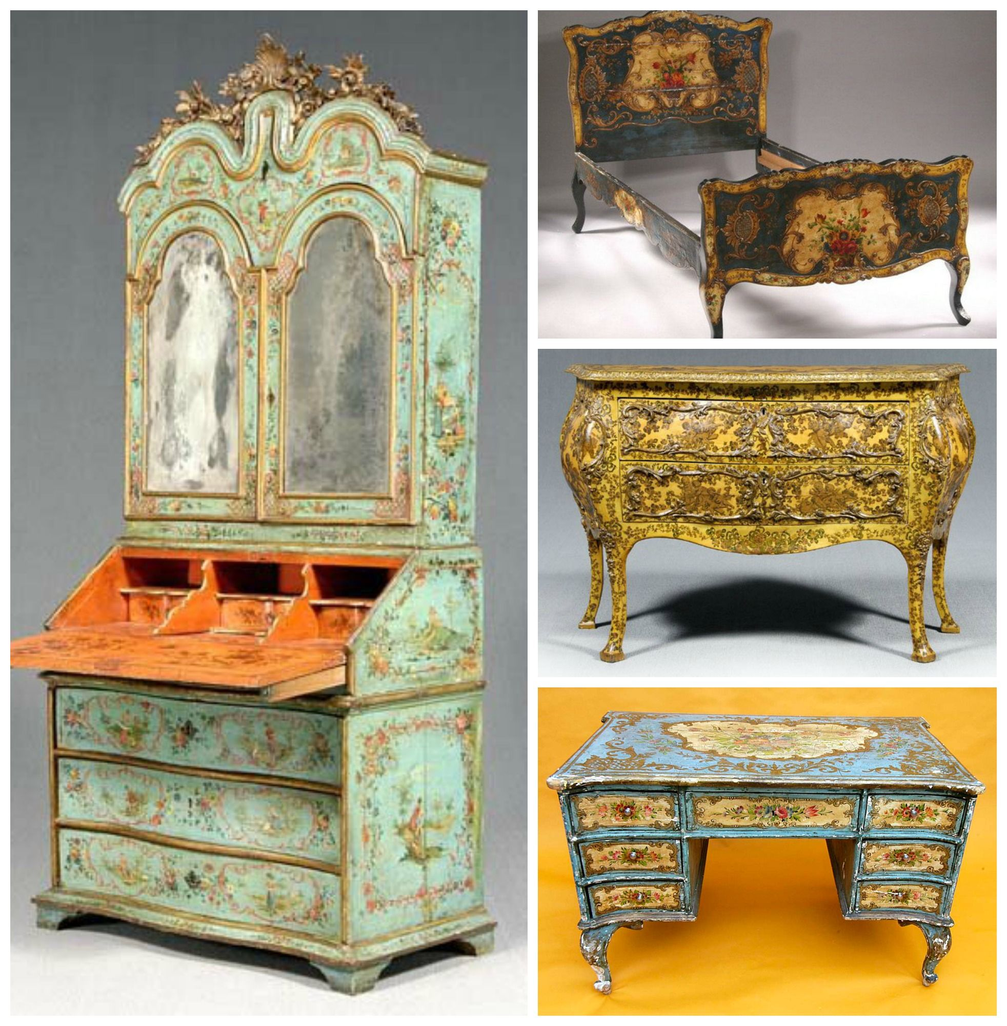 Muebles decorados con laca povera venecia siglo xviii - Muebles decorados a mano ...