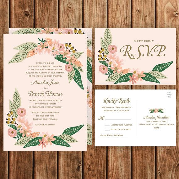 Fl Wedding Invitation Blush Pink Gold Green By
