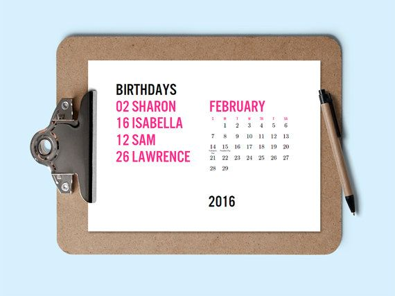 Printable Calendar - Birthday Calendar - Download  Print 2016 - perpetual calendar template