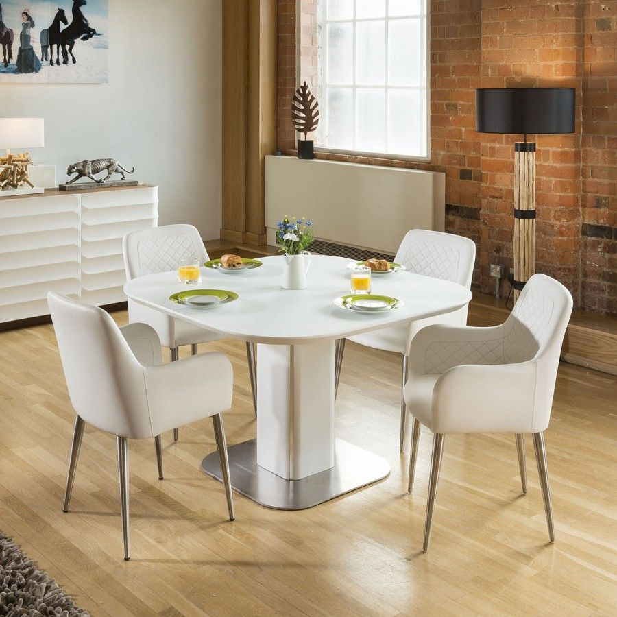 Stunning Dining Set White Glass Square Extending Table +4
