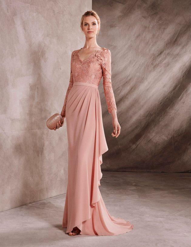 La Sposa | Vestido de madrina en estilo sirena de georgette y encaje ...