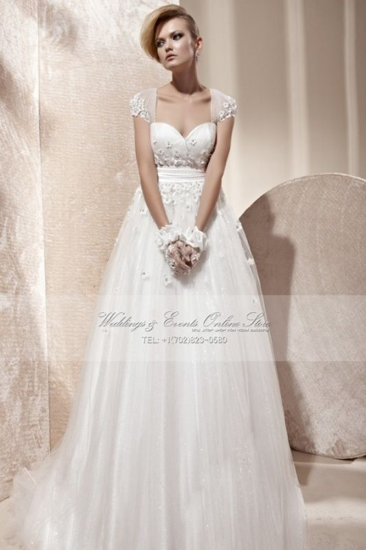 Vintage Inspired Empire Waist Bridal Gowns Cap Sleeves Garden Or ...