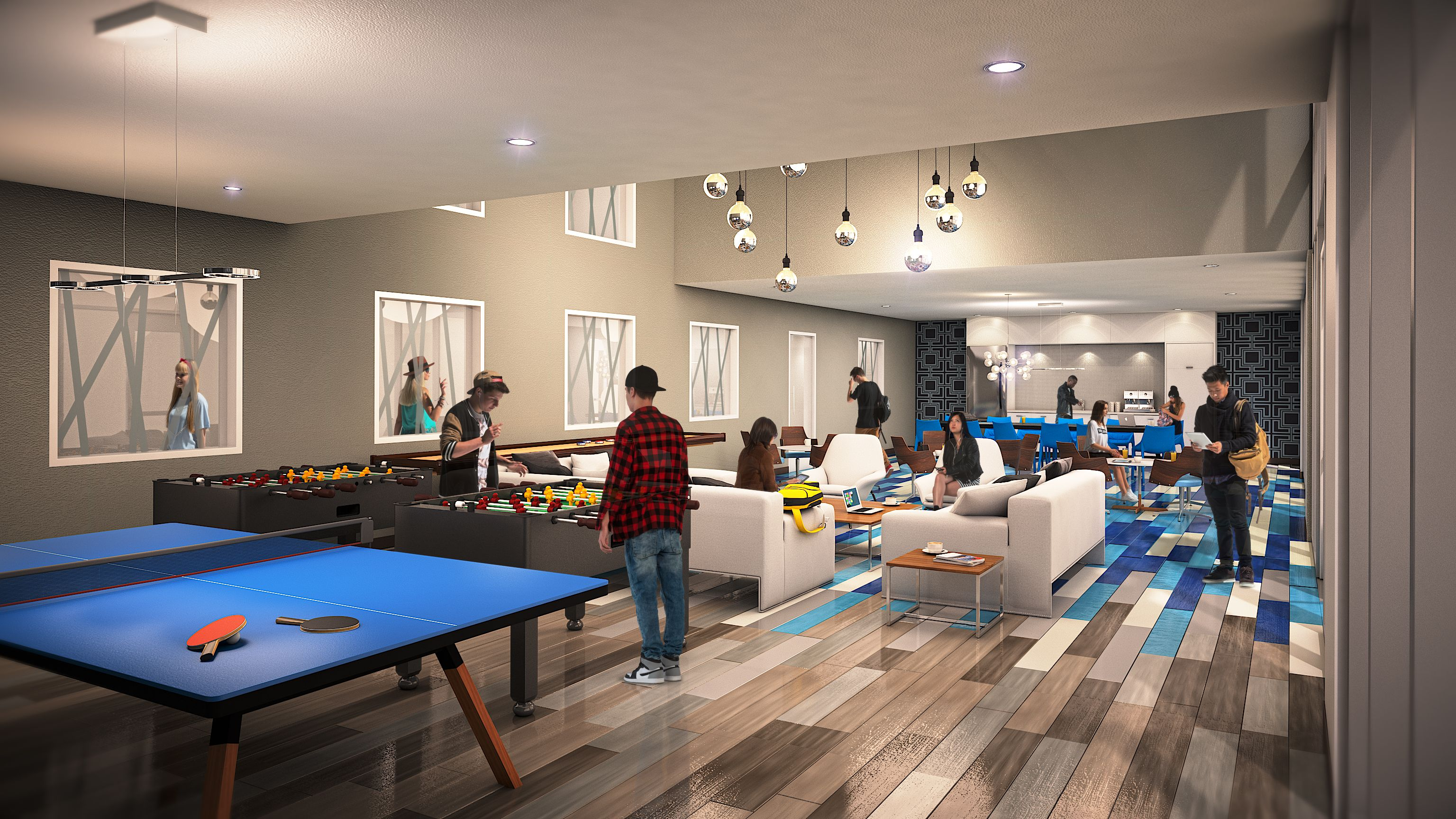 Rendering of game room in the HERE, KS apartments! KU
