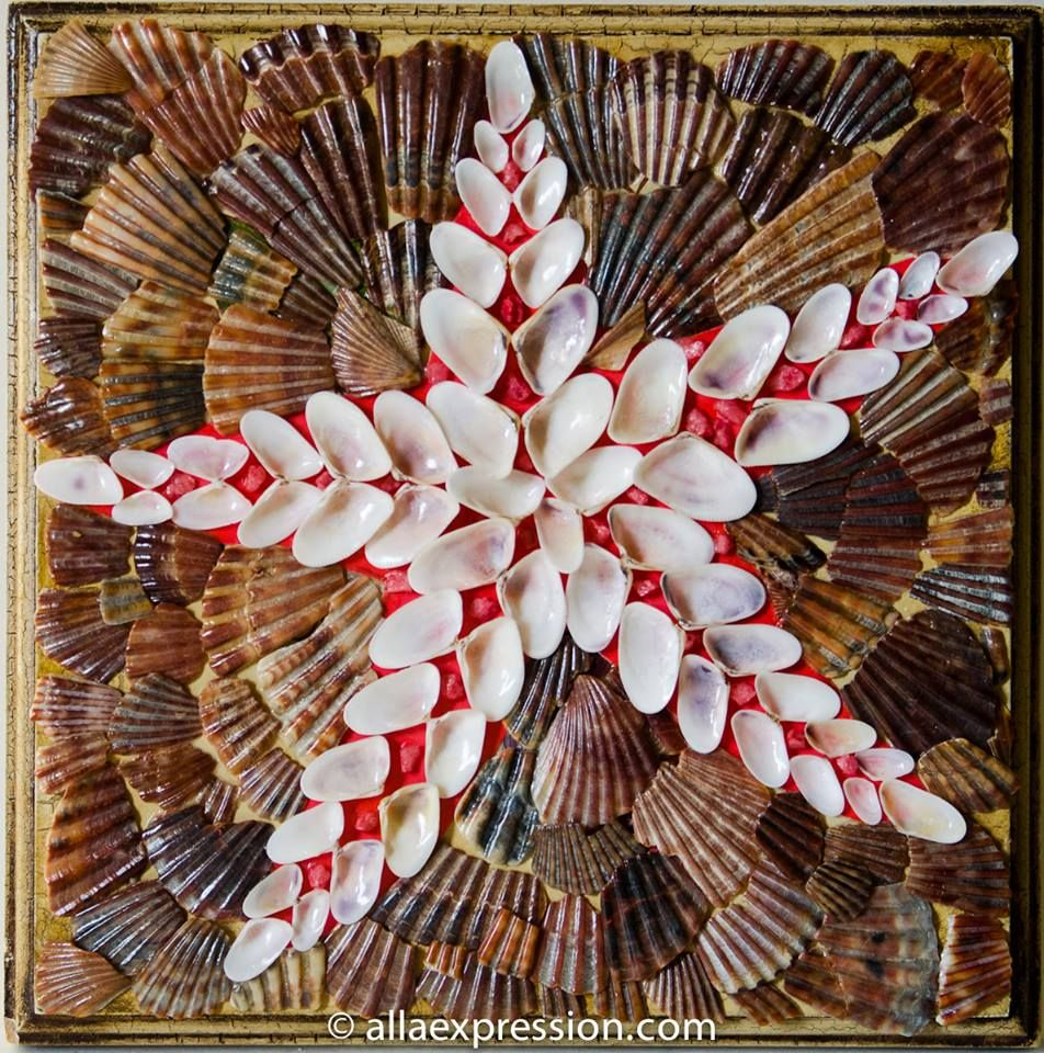 Sea star 8x 8 mixed media seashell mosaic and alla baksanskaya sea star mixed media seashell mosaic and alla baksanskaya nautical picasso kit for do it yourself solutioingenieria Image collections