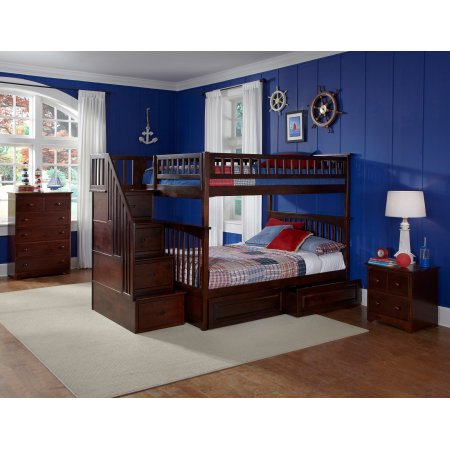Columbia Staircase Bunk Bed Full Over Full With 2 Raised Panel Bed