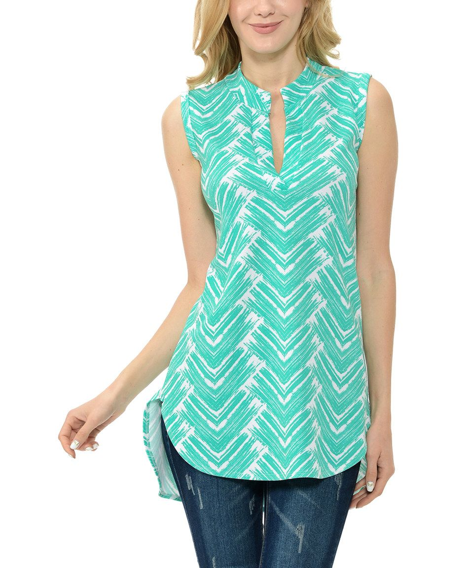 Take a look at this Mint Geometric Notch Neck Sleeveless Tunic - Plus today!
