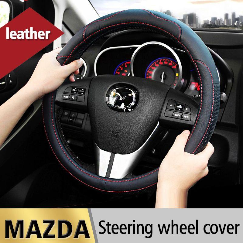 Leather Car Steering Wheel Cover Case For Mazda 2 3 Mazda 6 Axela