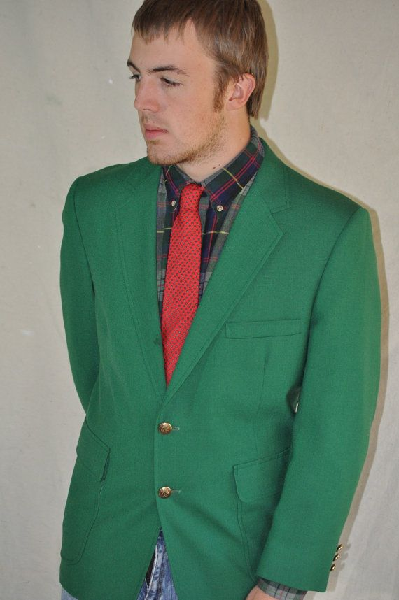 Vintage Men Jacket / Neon Green Blazer / Double Breasted / Large ...