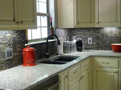 White Cabinets With Black Granite Backsplash And Countertops . Nice Look