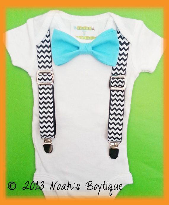 9a274a1fc Baby Boy Clothes - Baby Birthday Outfit - Black Chevron Suspenders With  Aqua Bow Tie - Boy Coming Home Outfit - - Infant Boy