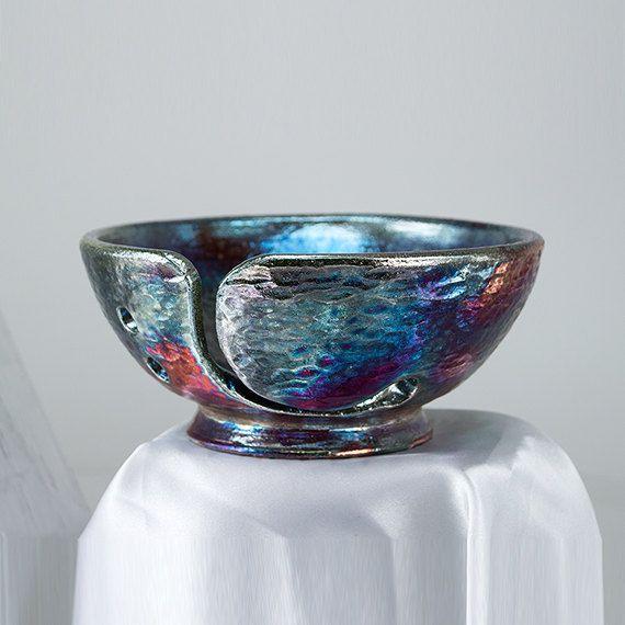Ceramic Yarn Knitting Bowl Yaktos Handmade Raku by CHpottery, $35.00