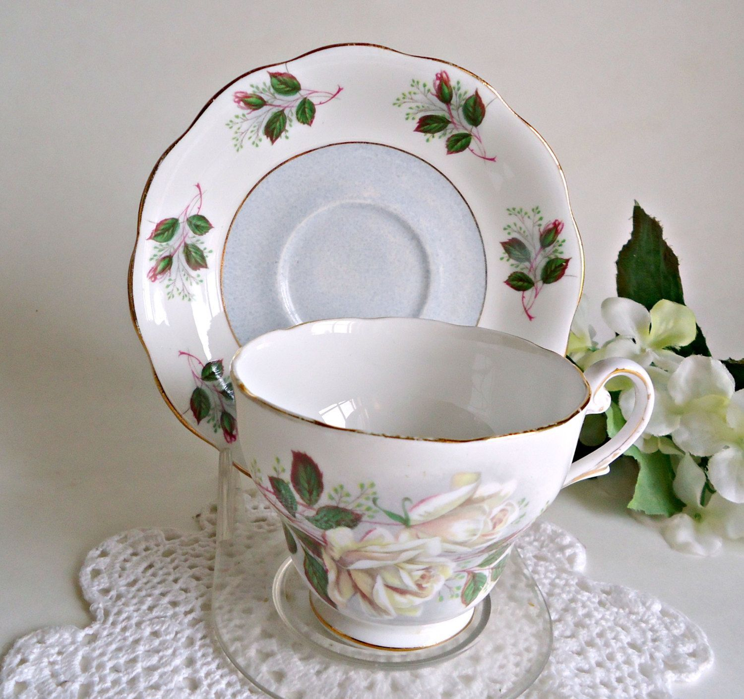 Tea Cup and Saucer Vintage Teacup and Saucer Royal Standard Bone China White Rose