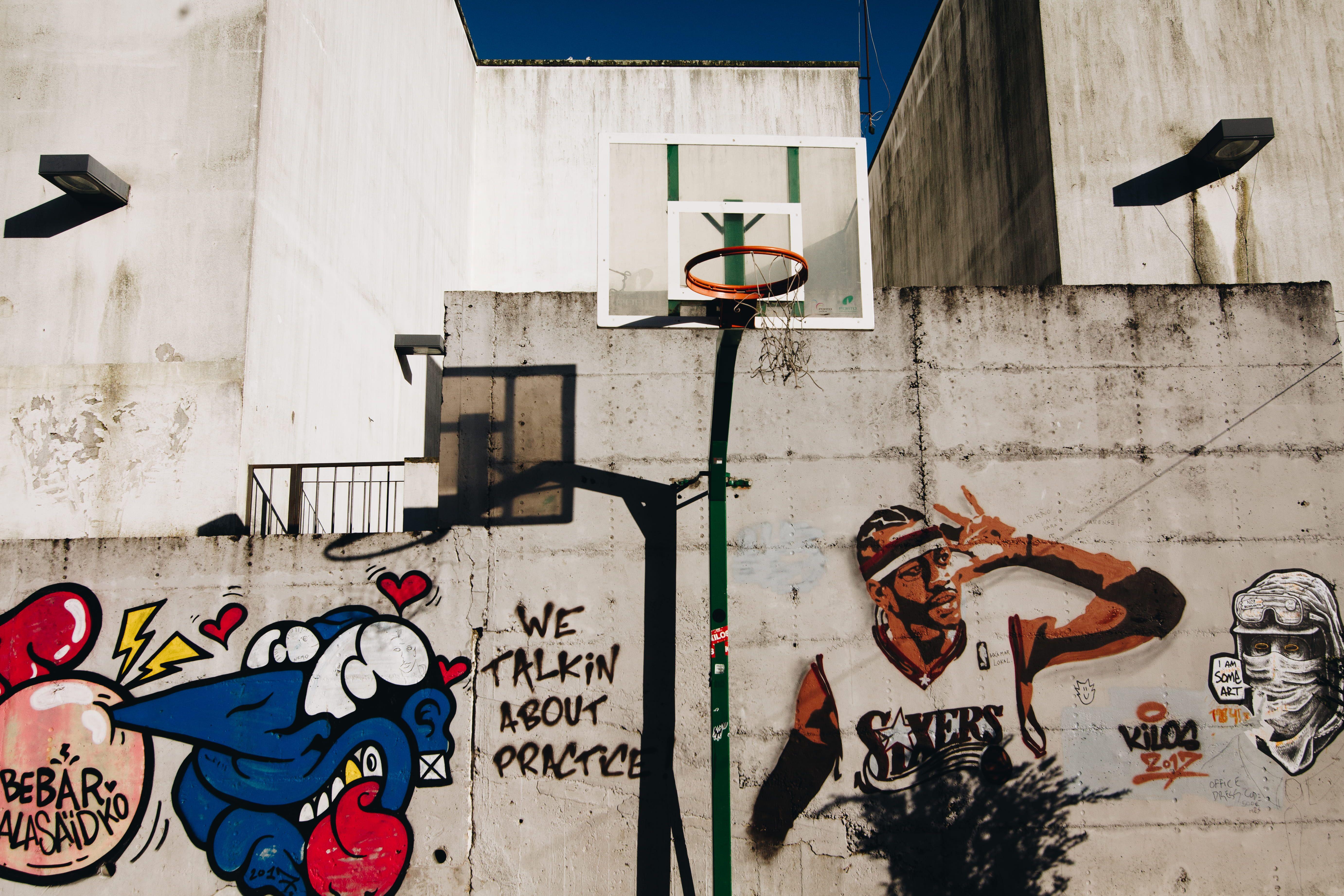 Allen Iverson Of Sixers Graffiti Wall Art Basketball Basket Basketball Court Building City Daytime Graffiti Painting Pavement Sport Str Basketbol Resim