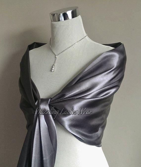 75bbdbe72b8 Dark Silver or Light Silver Grey satin shawl Large Satin Shawl   Wrap    Stole   Bolero   Shrug - Wedding Bridal Formal